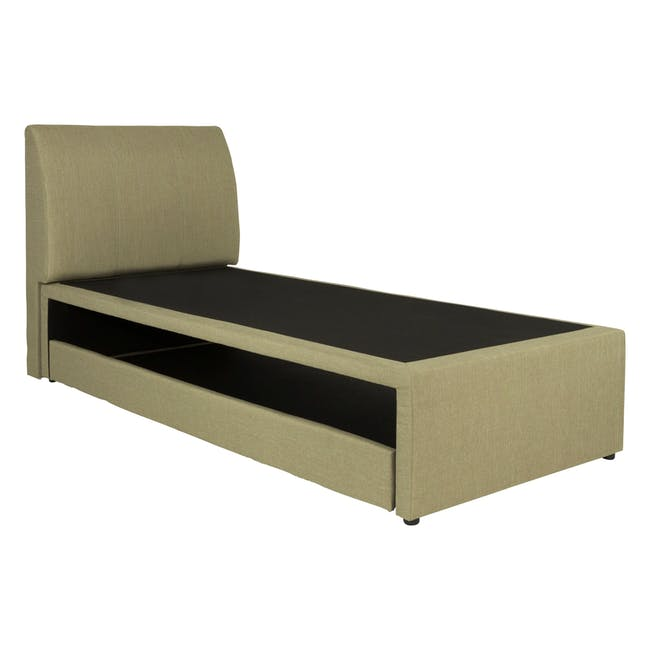 ESSENTIALS Single Trundle Bed - Khaki (Fabric) - 3
