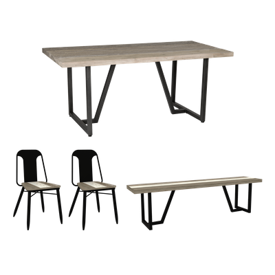 Xavier Dining Table 1.8m with Xavier Bench and 2 Xavier Dining Chairs - Image 1