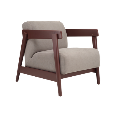 (As-is) Daewood Lounge Chair - Penny Brown, Light Grey -2 - Image 1