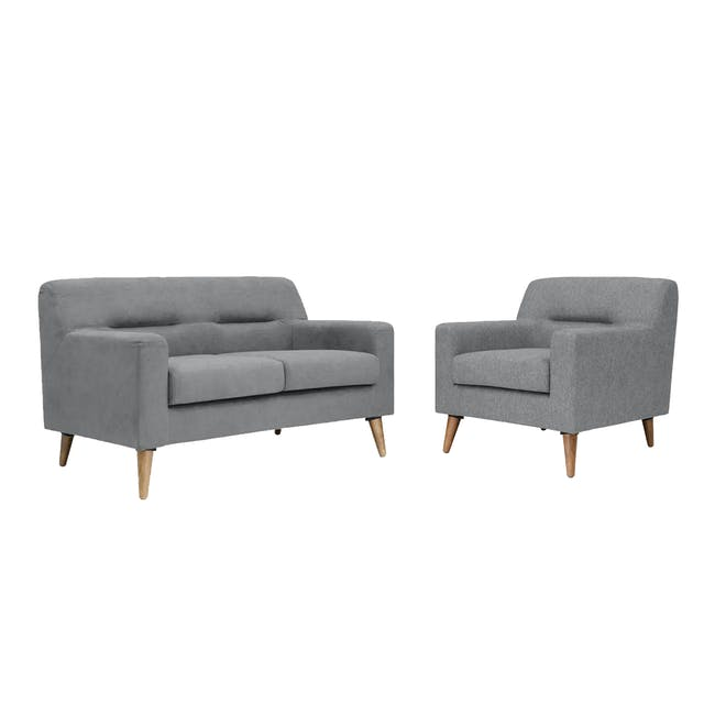 Damien 2 Seater Sofa with Damien Armchair - Heather Grey - 0