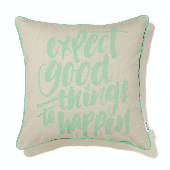 Expect Good Things To Happen Cushion Cover - Pastel Green - 2