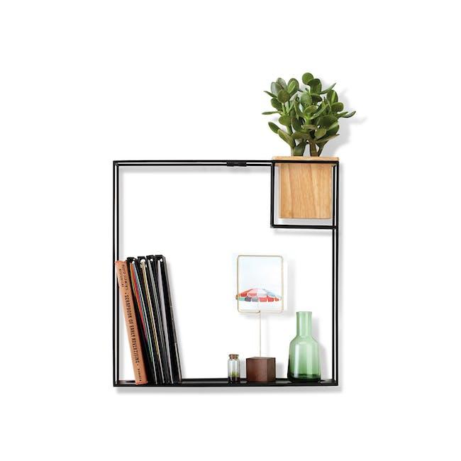 Cubist Large Wall Shelf - Natural, Black - 0