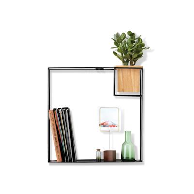 Cubist Large Wall Shelf - Natural, Black - Image 1