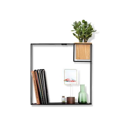 Cubist Large Wall Shelf - Natural, Black - Image 1