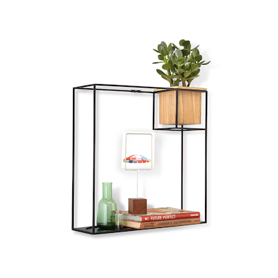 Cubist Large Wall Shelf - Natural, Black - Image 2