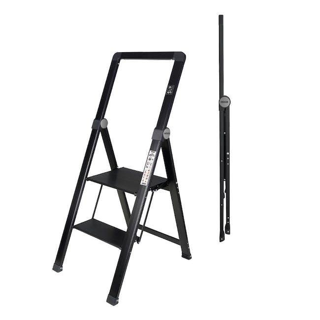 HOUZE Slim Aluminium 2 Tier Ladder - 1