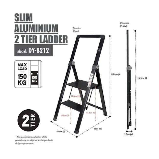 HOUZE Slim Aluminium 2 Tier Ladder - 2