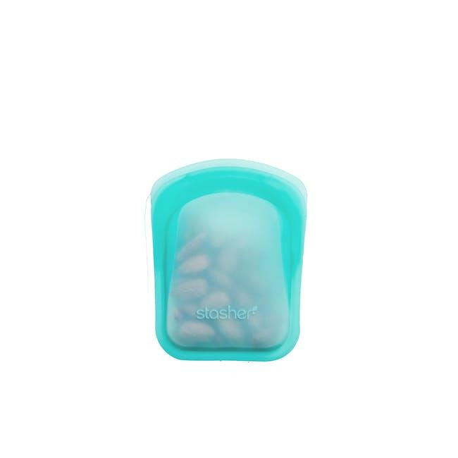 Stasher Reusable Silicone Bag - Pocket - Aqua - 0