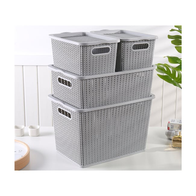 Braided Storage Basket with Lid - Large - 1