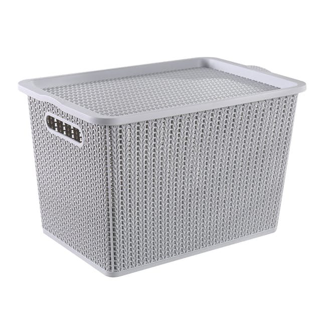 Braided Storage Basket with Lid - Large - 0