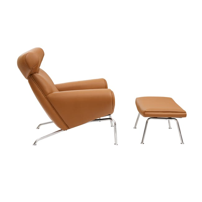 Ox Chair with Ottoman Replica - Tan (Genuine Cowhide) - 2