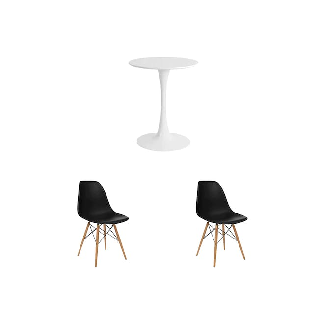 Carmen Round Dining Table 0.6m with 2 DSW Chair Replica in Natural, Black - 0
