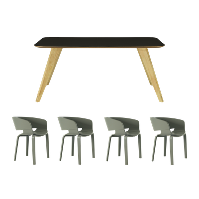 Ryder Dining Table 1.8m with 4 Huela Dining Chairs - Image 1