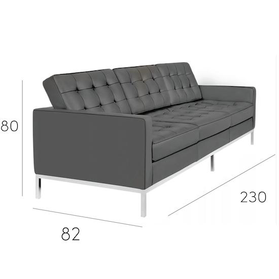 Florence Knoll 3 Seater Sofa Italian Leather Modern Classics Hipvan