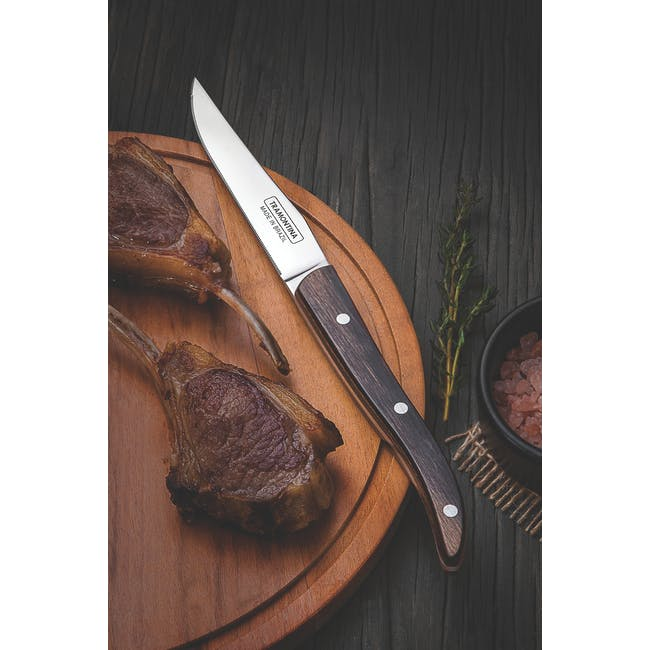 Tramontina 4pc French Steak Knife Set - Brown - 1