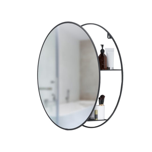 Cirko Round Storage Mirror 50 cm - Black - 0
