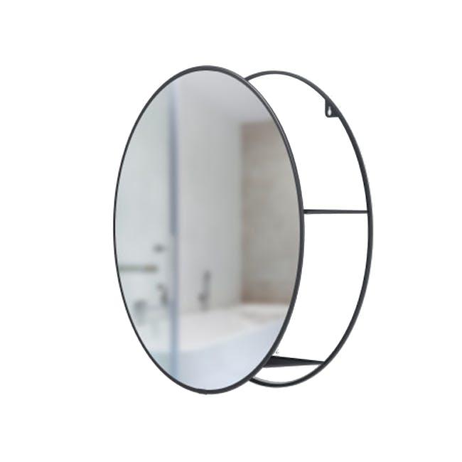 Cirko Round Storage Mirror 50 cm - Black - 3