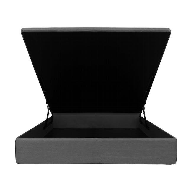 ESSENTIALS Queen Headboard Storage Bed - Grey (Fabric) - 1