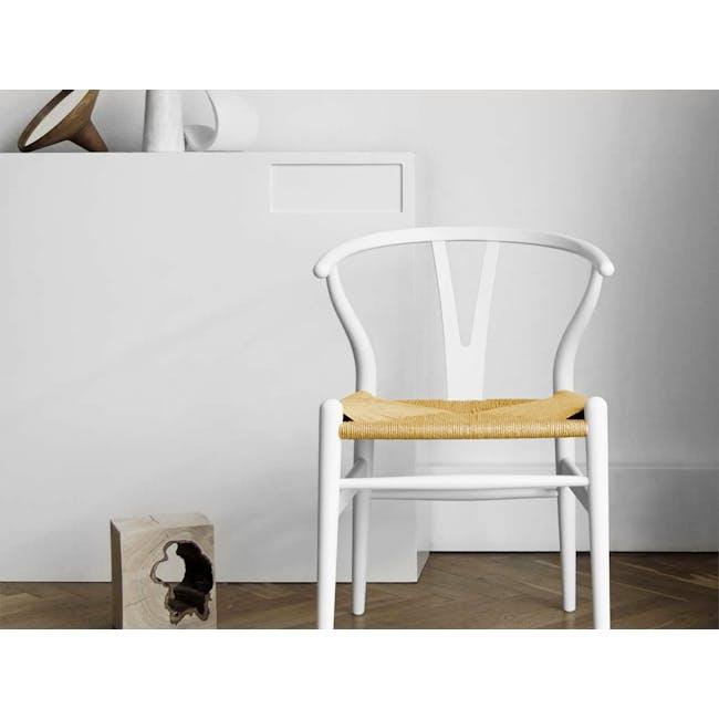 Wishbone Chair Replica - White, Natural Cord - 1