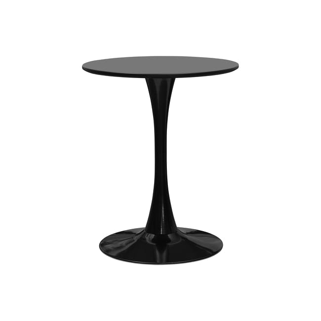 Carmen Round Dining Table 0.6m in Black with 2 DSW Chair Replica in Natural, Black - 1