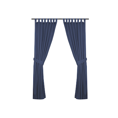 Reysha Cotton Curtain (Set of 2) - Blue - Image 1