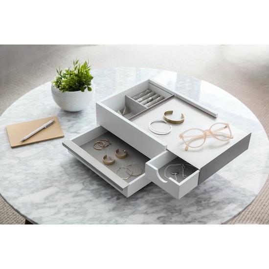 Umbra - Stowit Storage Box - White, Nickel