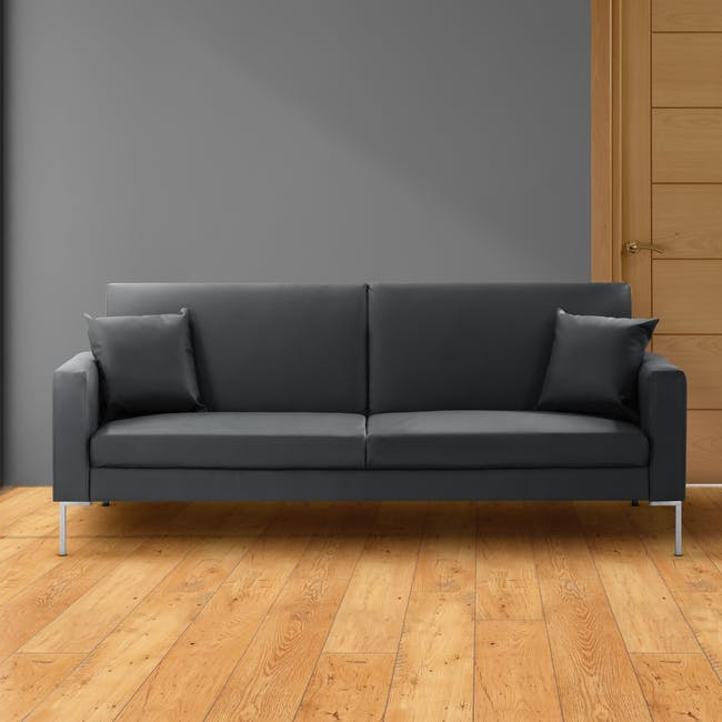 Leslie Sofa Bed - Slate Grey (Faux Leather) - 1