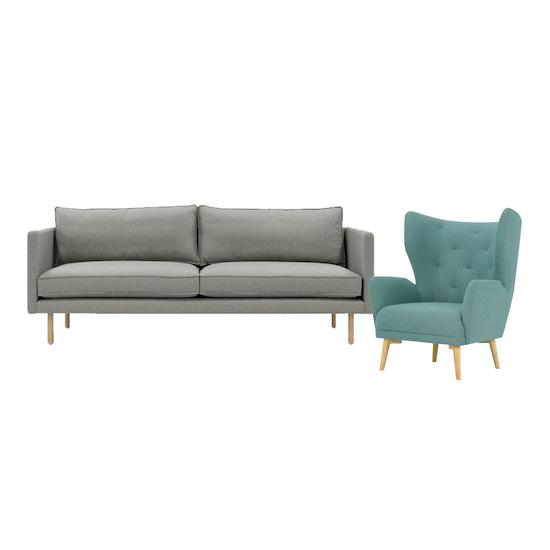 Rexton 3 Seater Sofa In Timberwolf And Kiwami Lounge Chair In