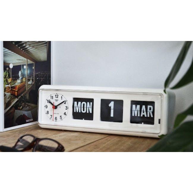 TWEMCO Calendar Flip Wall/Counter Clock - White - 1