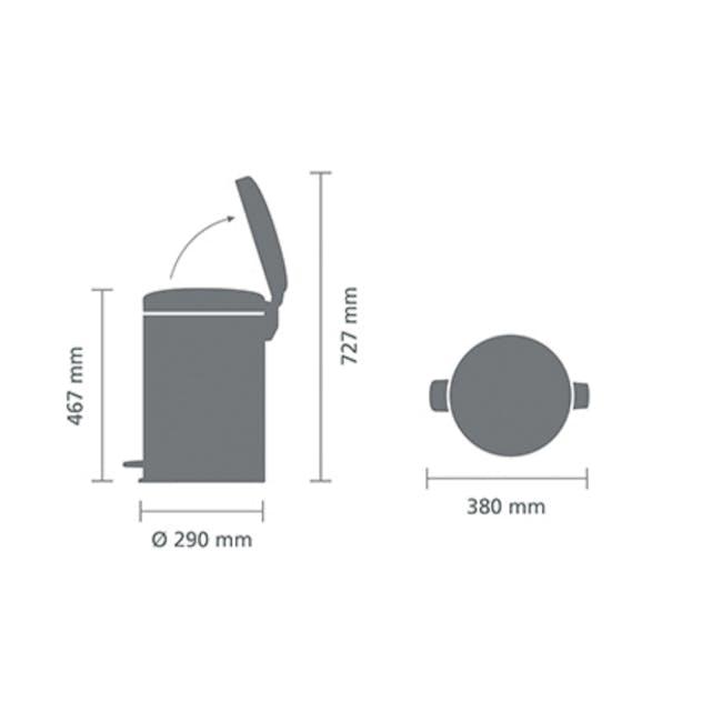 Brabantia 20L Pedal Bin NewIcon - Matt Steel - 4