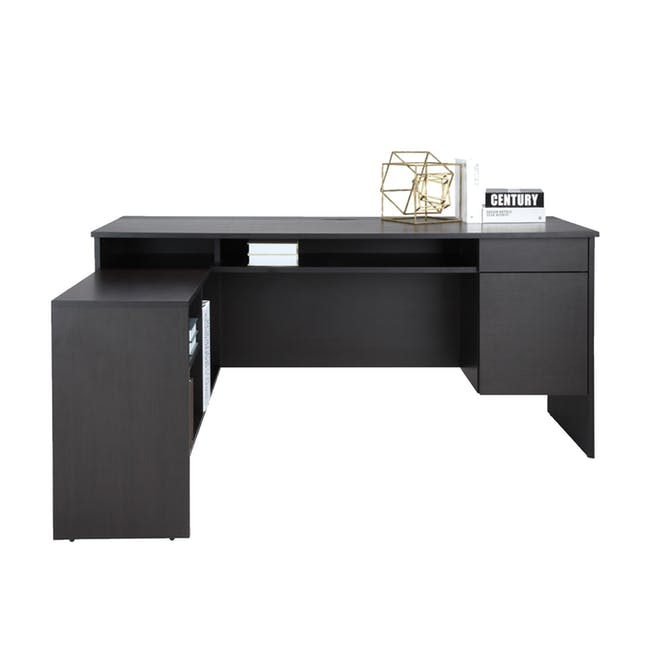 Leon Corner Study Table 1.6m - Black Brown - 6