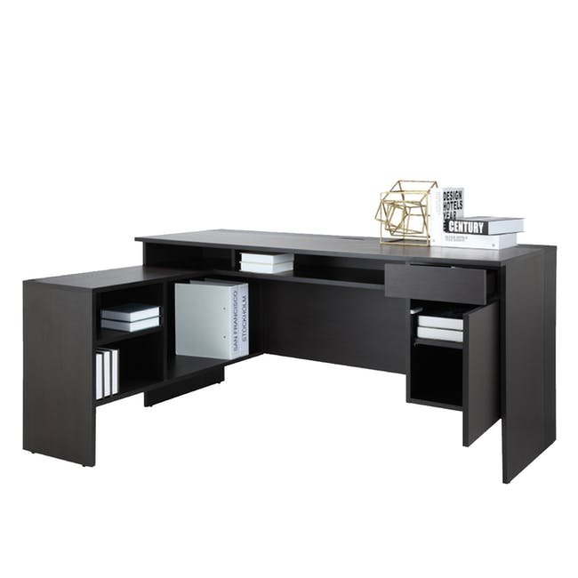 Leon Corner Study Table 1.6m - Black Brown - 1