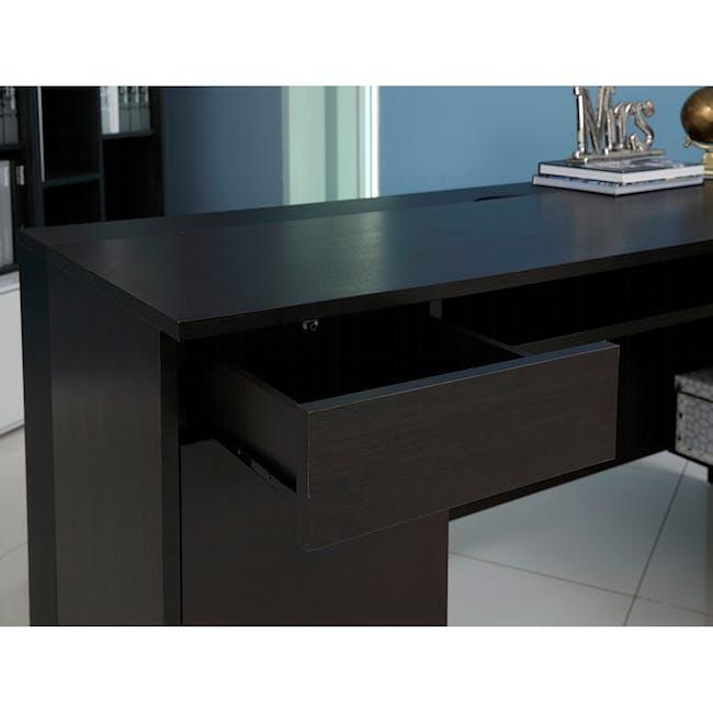 Leon Corner Study Table 1.6m - Black Brown - 9
