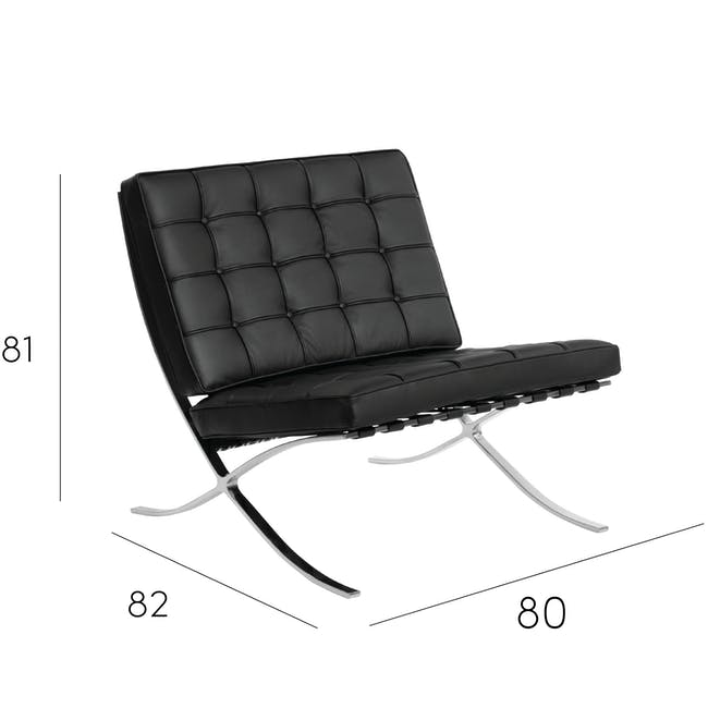 Barcelona Chair Replica - Black (Genuine Cowhide) - 16