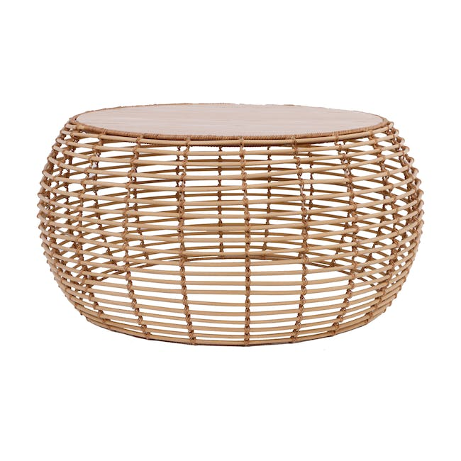 Nora Rattan Coffee Table with Swivo Side Table - 2