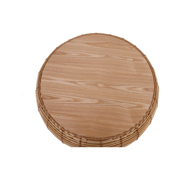 Nora Rattan Coffee Table with Swivo Side Table - 3