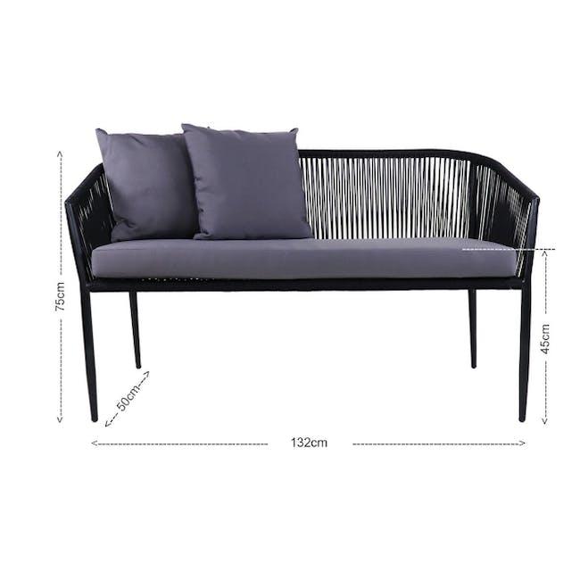 Kyoto Loveseat & 1 Armchair Set - Grey Cushion - 4