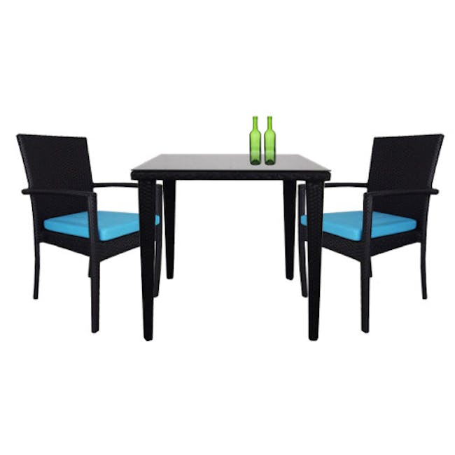Palm Outdoor Dining Couple Set - Blue Cushions - 9