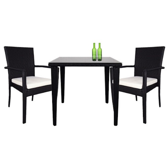 Arena Living - Palm Outdoor Dining Couple Set with White Cushions