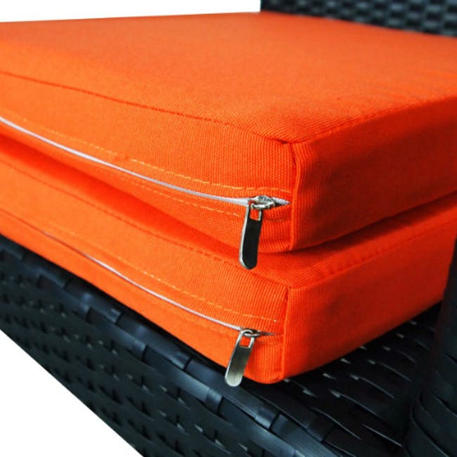 Palm Outdoor Dining Couple Set with Orange Cushions - 6