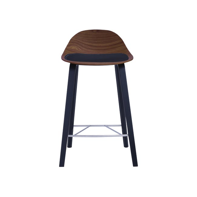 Stacy Counter Chair - Walnut, Onyx (Genuine Cowhide Seat Pad) - 1