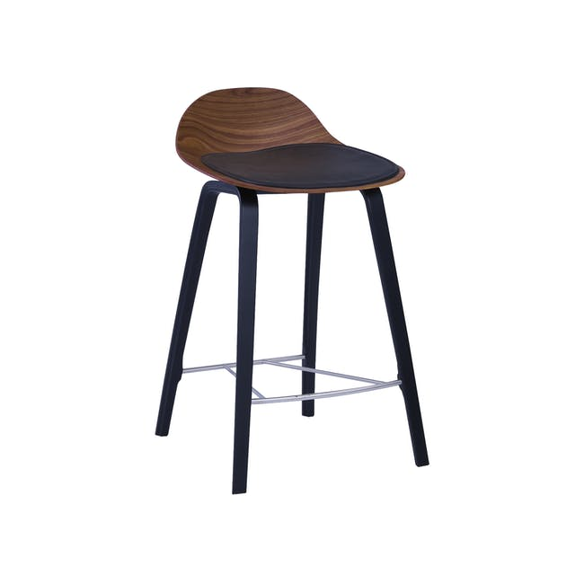 Stacy Counter Chair - Walnut, Onyx (Genuine Cowhide Seat Pad) - 0