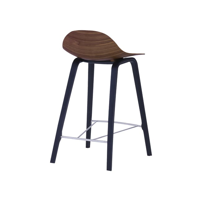 Stacy Counter Chair - Walnut, Onyx (Genuine Cowhide Seat Pad) - 2
