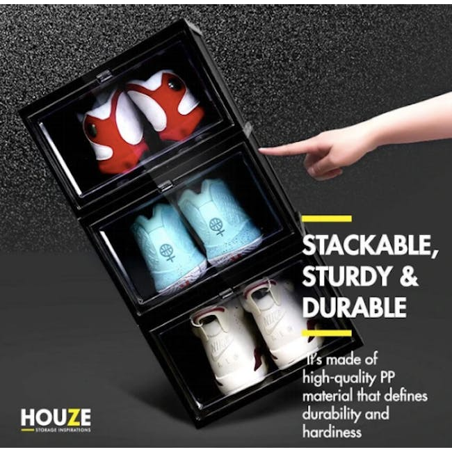 SoleMate Stackable Drop Lid Shoe Box - White (Pack of 2) - 7