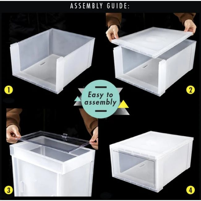 SoleMate Stackable Drop Lid Shoe Box - White (Pack of 2) - 8