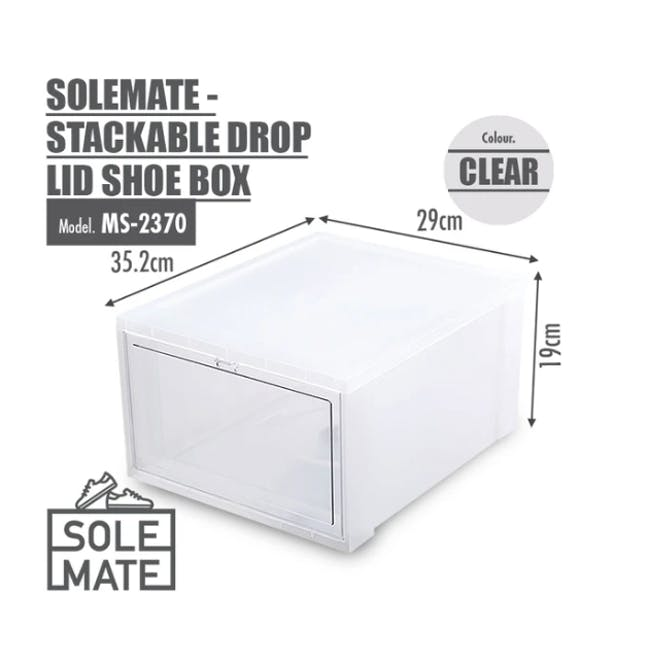 SoleMate Stackable Drop Lid Shoe Box - White (Pack of 2) - 3