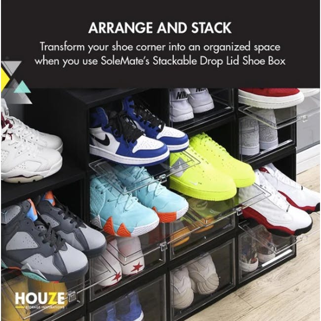 SoleMate Stackable Drop Lid Shoe Box - White (Pack of 2) - 4