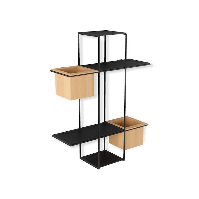 Cubist Multi Wall Shelf - Natural, Black - 2