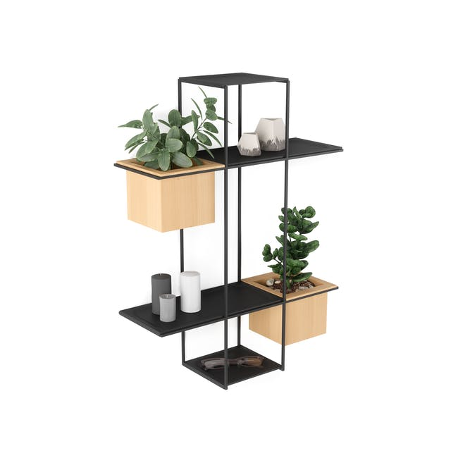 Cubist Multi Wall Shelf - Natural, Black - 1