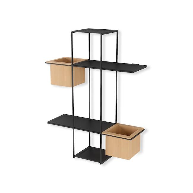 Cubist Multi Wall Shelf - Natural, Black - 5